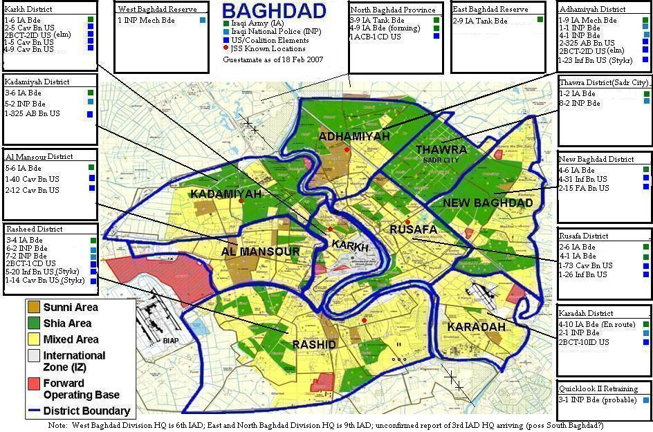 Map of Baghdad Order of Battle, February 2007