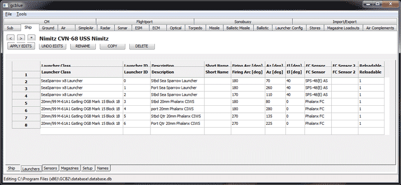 Screenshot of GCB2 Database Editor